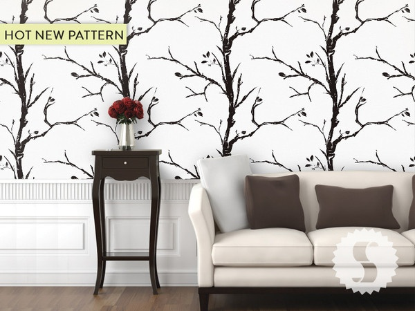 awesome new tree pattern peel temporary wallpaper panels