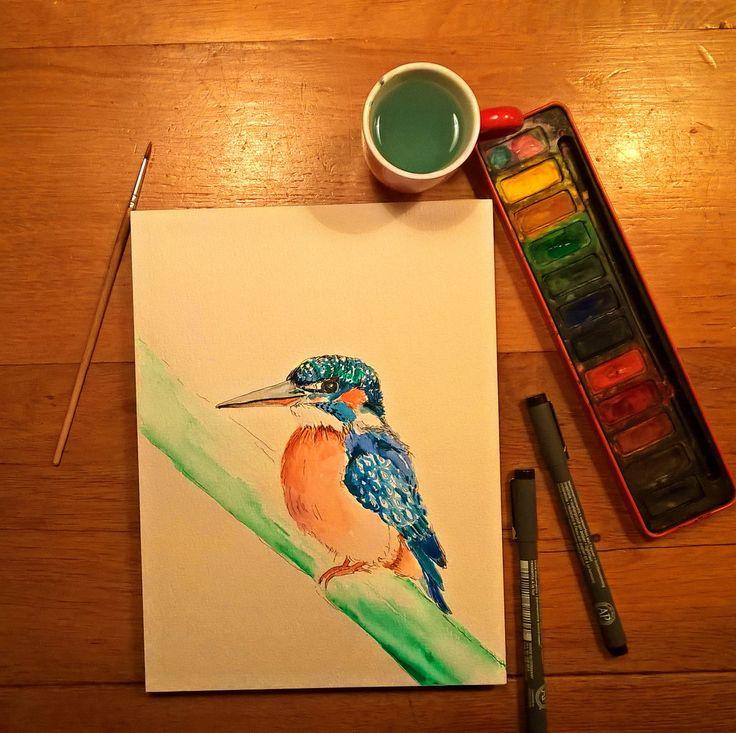 nieuwste aquarel ijsvogel binnenkort als ansichtkaart op mijn website