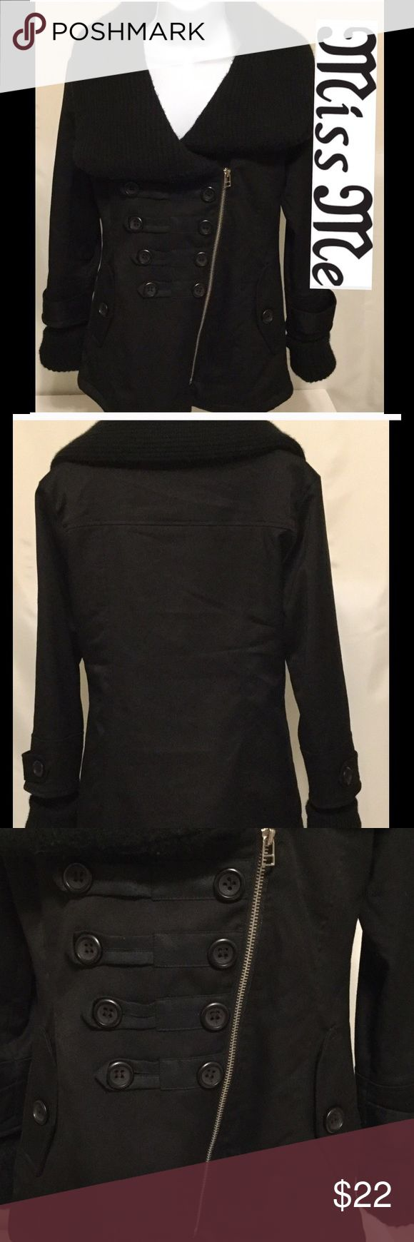 Miss Me coat black women's S/P stylish coat black This is a women's S/P black very stylish Miss Me coat.  The outside of the coat is flawless with no rips, tears, stains or discoloration.  However, the inside of the coat has two tears at the seams, please refer to picks and comes from a smoke free home.  Priced accordingly.  Overall very nice name brand coat.  Buy with confidence I am a top rated seller, mentor and fast shipper.  Don't forget to bundle and save.  Thank you. Miss Me Jackets…