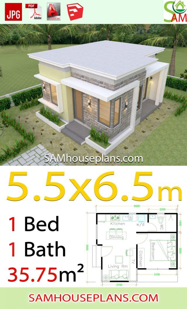 House design Plans 5 5x6 5 with One Bedroom flat roof Sam House Plans in 2020 One bedroom house plans One bedroom house One bedroom flat