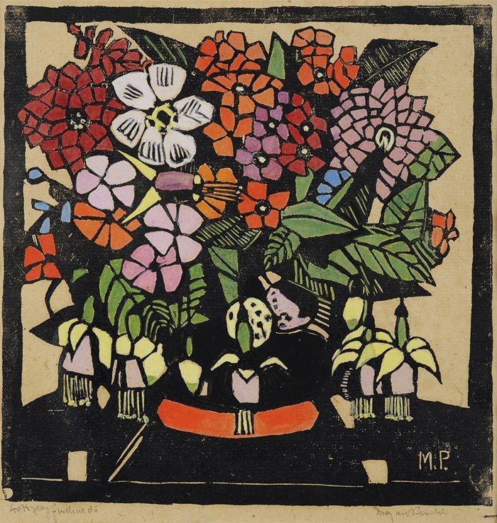 Fuchsia - by Margaret Preston. Woodblock print