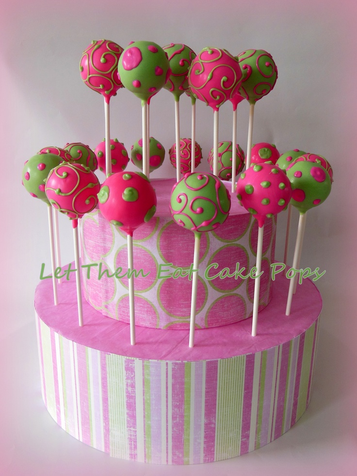 """Ready to POP"" pink and green baby shower cake pops by Let Them Eat Cake Pops ~ www.LetsEatCakePops.com"