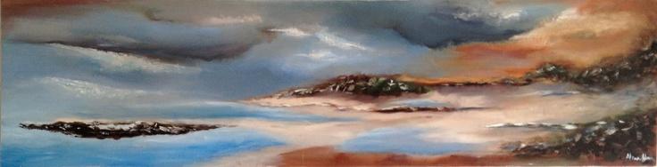 'Beach scene' - by Alma Horn.   1700 x 600 x 30 mm.  Oil on stretched canvas. almahorn@blogspot.com