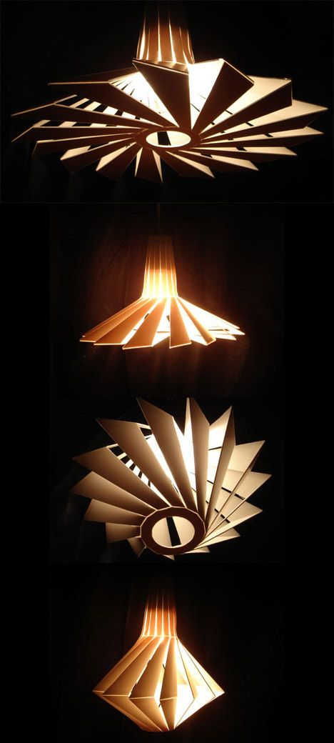 The Penta lamp by Luca Casarotto    Made of recycled components, the Penta lamp is dynamically able to change its shape and ambient lighting. It is designed by Luca Casarotto of Cosca Design.