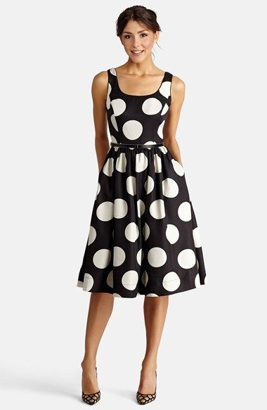 black and white polka dot fit and flare midi dress