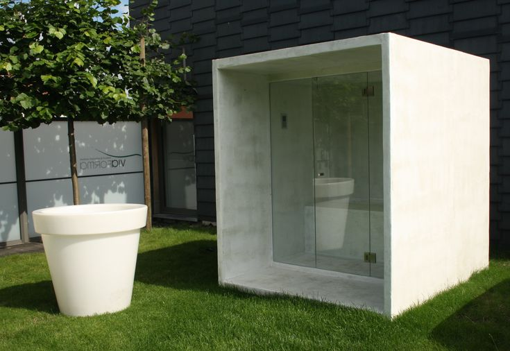Thermalux has developed the first design infrared sauna in 2009. Now in 2012 we are launching the first design outside sauna completely made in imitation concrete. No more wooden huts but a modern contemporary look that can fit in any type of garden