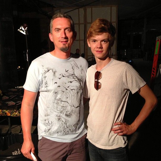 Thomas Sangster and James Dashner at the set of The Maze Runner