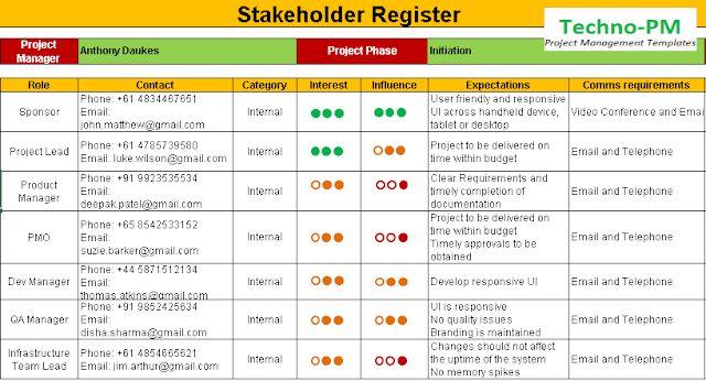 Stakeholder Register Template