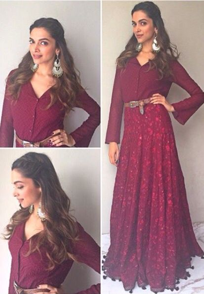 deepika padukone Giving an elegant spin to Indo-Western! #Mastani during #BajiraoMastaniPromotions!