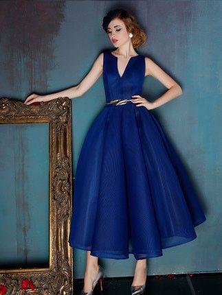 Dark Blue V Neck Ankle Length Evening Prom Formal Dress
