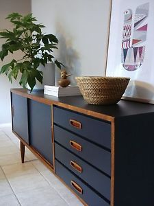 1970's Australian sideboard. Teak and satin Indigo/Charcoal. Retro mid century modern Danish movement.