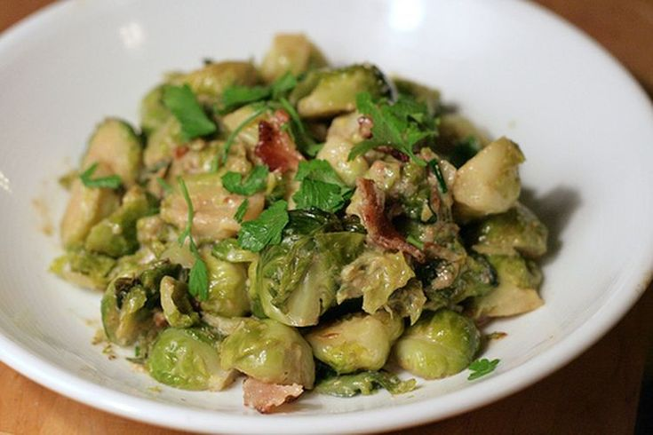 Brussels Sprouts Braised in Cream with Bacon recipe on Food52