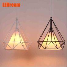 LEDream small black birdcage pendant lights Scandinavian modern minimalist pyramid light iron light with LED bulb(China (Mainland))