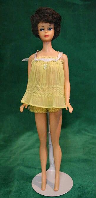 Vintage Barbie Sweet Dreams #973(1959-1962)PINK or YELLOWBaby Doll PJ Top & PantiesBlue Hair Ribbon with Metal RingLight Blue Open Toe Heels with Blue PomponsBrass
