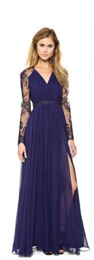 #Vestido largo de #fiesta con encaje en color azul de www.kaleidoskopicshop.com