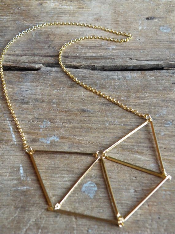 Geometric Gold Necklace // Chevron Triangle by BlackDahliaAtelier