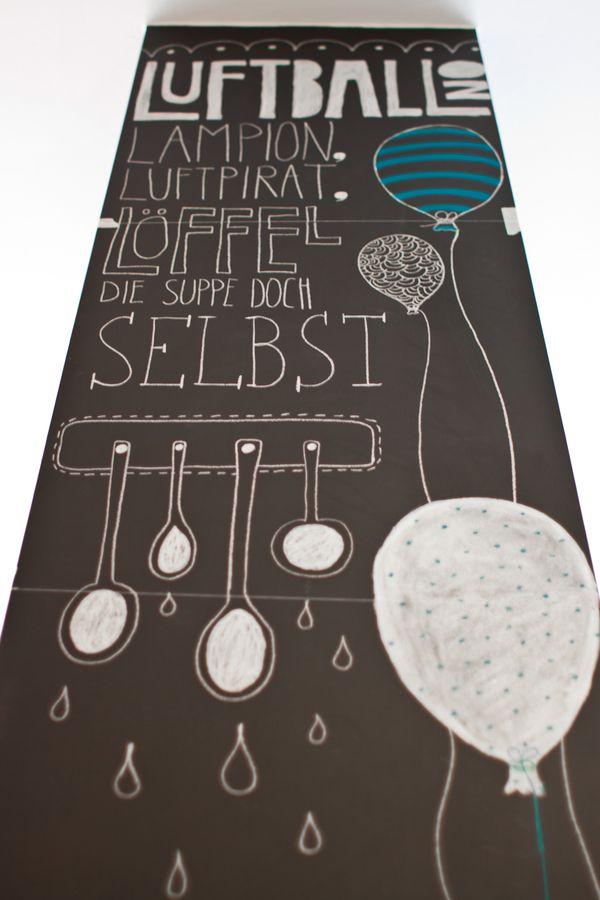 Chalk illustrations for the restaurant 'LADENLOKAL' by Pamela Rama, via Behance