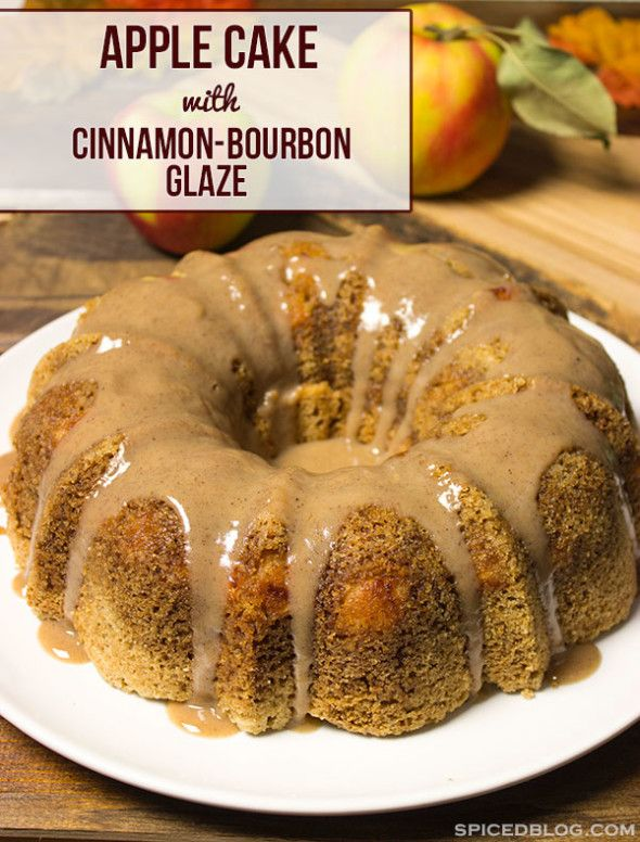 Apple Cake + Cinnamon Bourbon Glaze | Spiced