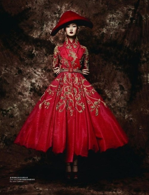 Christian Dior Haute Couture by John Galliano  Model Lili Ji, Photographer Sun Jun  Originally published in L'Officiel China September 2010