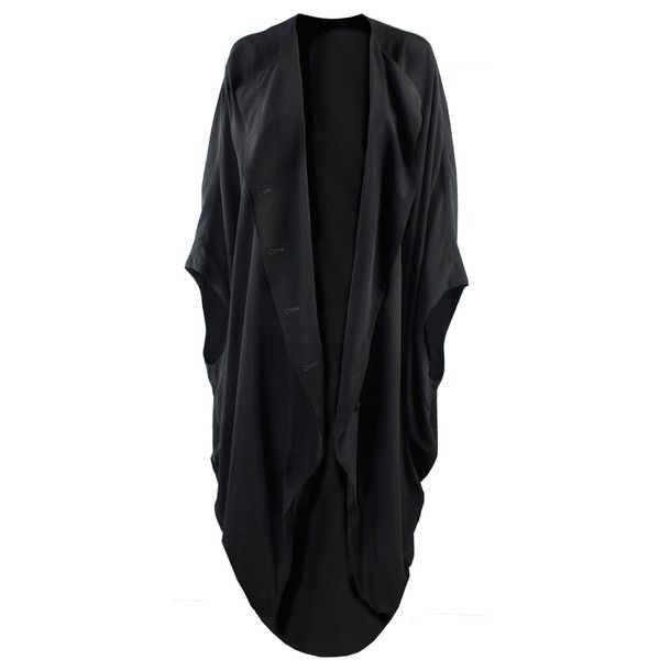 Vincetta, New York Black Silk Draped Caftan (€365) ❤ liked on Polyvore featuring tops, tunics, outerwear, kaftan tops, caftan tops, black kaftan, silk top and oversized tunic