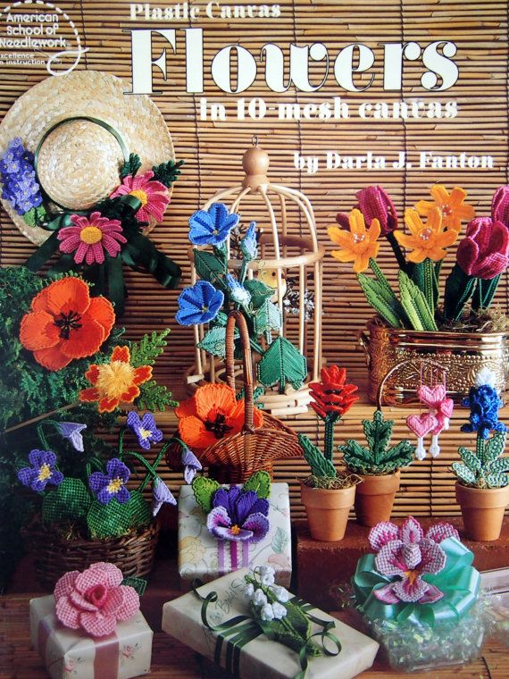 Plastic Canvas Flowers In 10 Mesh Canvas by NeedANeedle, $12.75