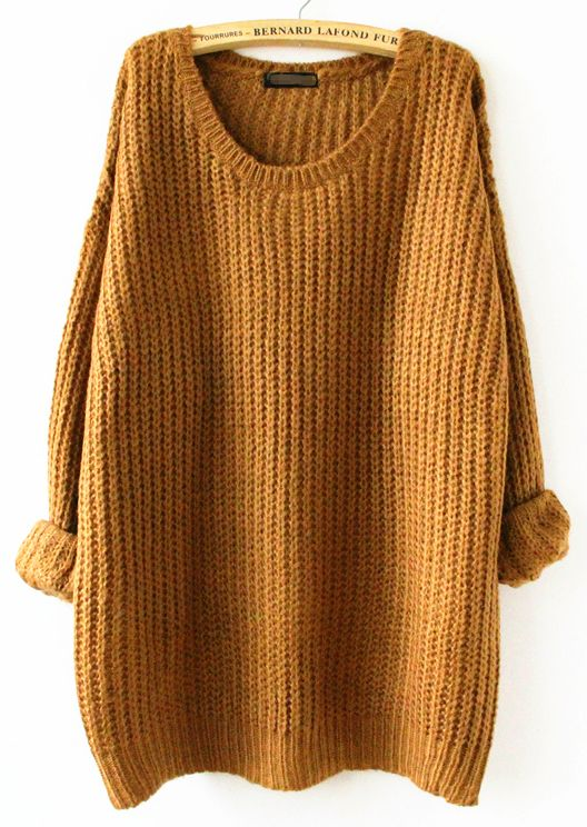 Yellow Long Sleeve Loose Sweater -SheIn(Sheinside)