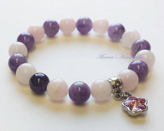 Rose Quartz and Amethyst bracelet Amethyst & Rose Quartz