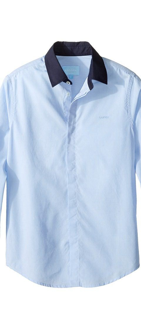 Lanvin Kids Long Sleeve Button Down Shirt w/ Contrast Collar (Little Kids/Big Kids) (Blue/Navy) Boy's Long Sleeve Button Up - Lanvin Kids, Long Sleeve Button Down Shirt w/ Contrast Collar (Little Kids/Big Kids), 4G5030 GH150-602, Apparel Top Long Sleeve Button Up, Long Sleeve Button Up, Top, Apparel, Clothes Clothing, Gift, - Street Fashion And Style Ideas