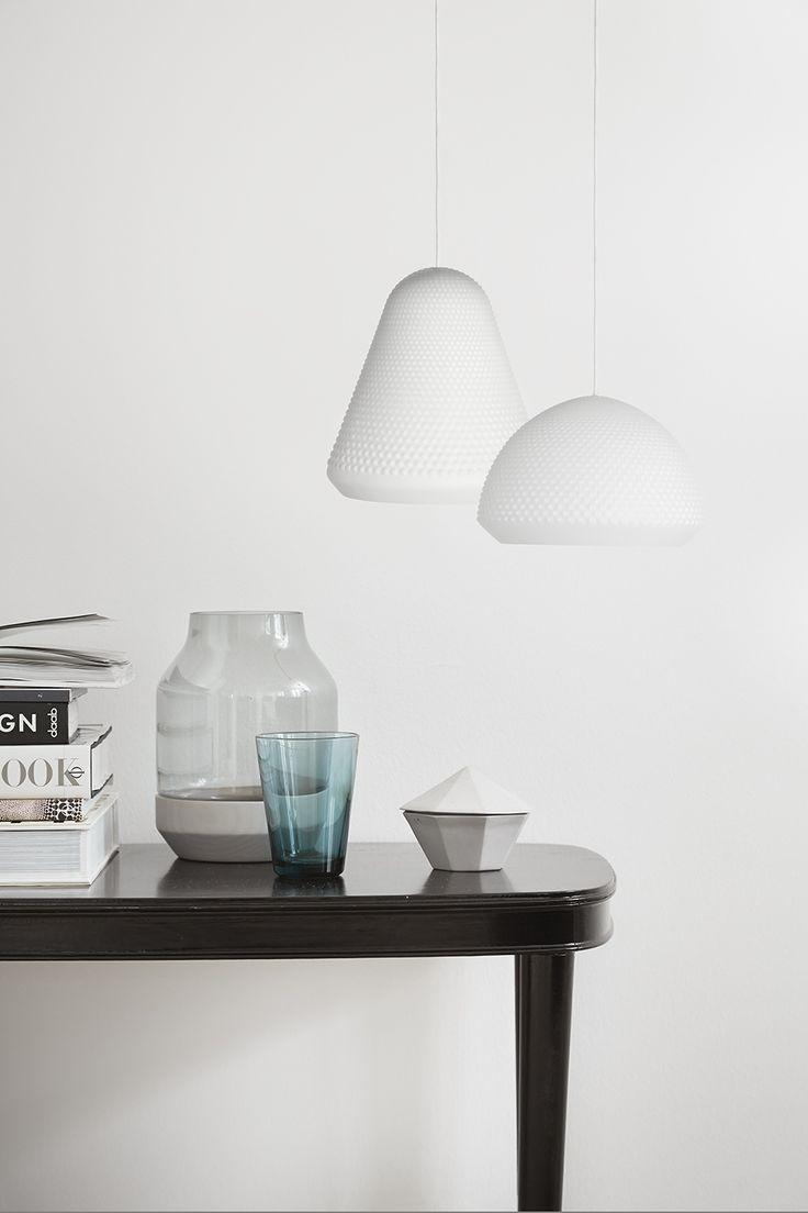 S H A P E  Pendants. Designed by Venessa Eilert. Matt white glass with a simple surface texture. Frandsen Lighting A/S
