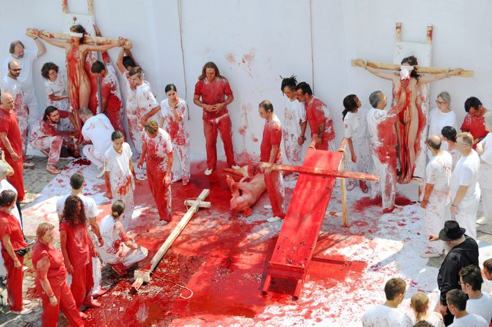 Aktion by Hermann Nitsch, Fondazione Morra, Napoli, Italy. 26 May 2010