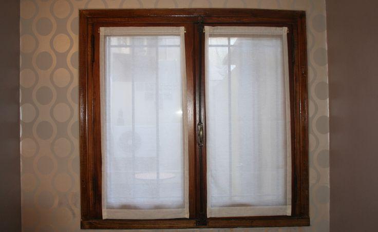 Visillos sin frunce de gasa italiana natural para ventana antigua de madera dormitorio ph - Cristales para puertas de salon ...