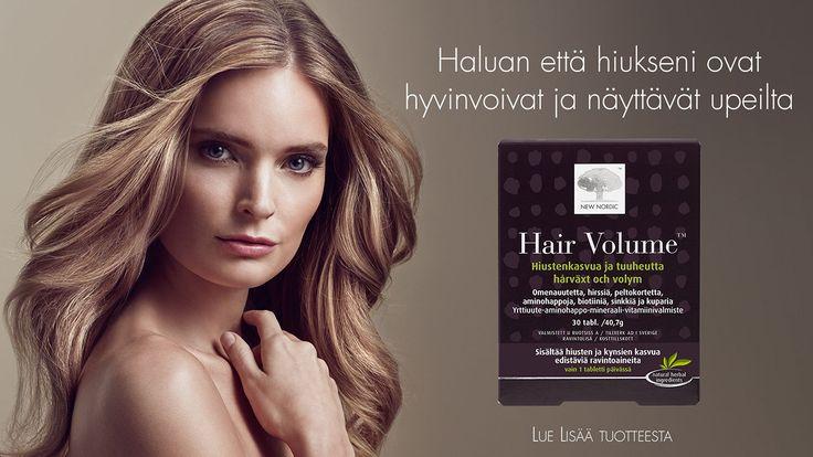 Jos hiustenlähtö häiritsee niin asialle voi tehdä jotain. Hair Volume auttaa vähentämään väliaikaista hiustenlähtöä ja stimuloi uuden hiuksen kasvua. Hiusravinteissa parhaan tuloksen saa min. 3kk käytöllä.