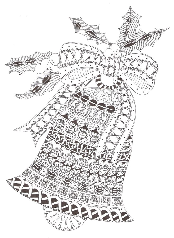kerstklok tekenen zentangle