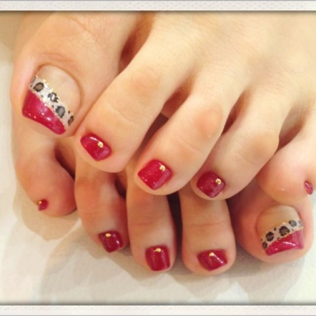 Red-Animal print Toe nail art #nailbook