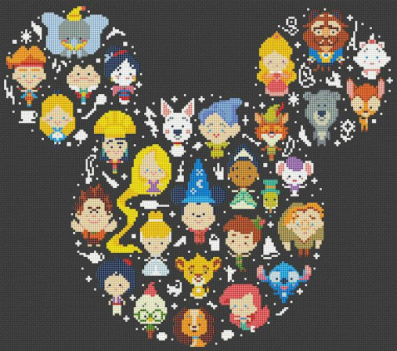 Disney Mickey - cross stitch pattern.  SIZE: Dimensions (14-count aida): 11.41 x 12.9 inches / 29.57h x 33.75w cm (18-count aida): 9 x 10.2 inches /23.00h x 26.25w Fabric: Any fabric you like Types of stitches: Cross stitch only Skill Level: Easy   ONLY PATTERN! This PDF file counted cross stitch pattern is available for instant download.   This PDF pattern Included: - Cross stitch instructions - Color image of the finished design - Color Block Chart - Color Floss Legend with DMC stranded…