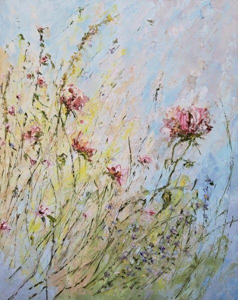 Большая картина с летними душистыми цветами. Садовые цветы. Марина Маткина. Импасто.