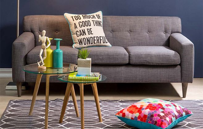 Love the carpet and sofa, with slash of colour #mrpyourhome