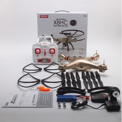 X8HC 2.4GHz 4CH 6-Axis Gyro 2.0MP Camera RC Quadrocopter RTF Drone - Golden