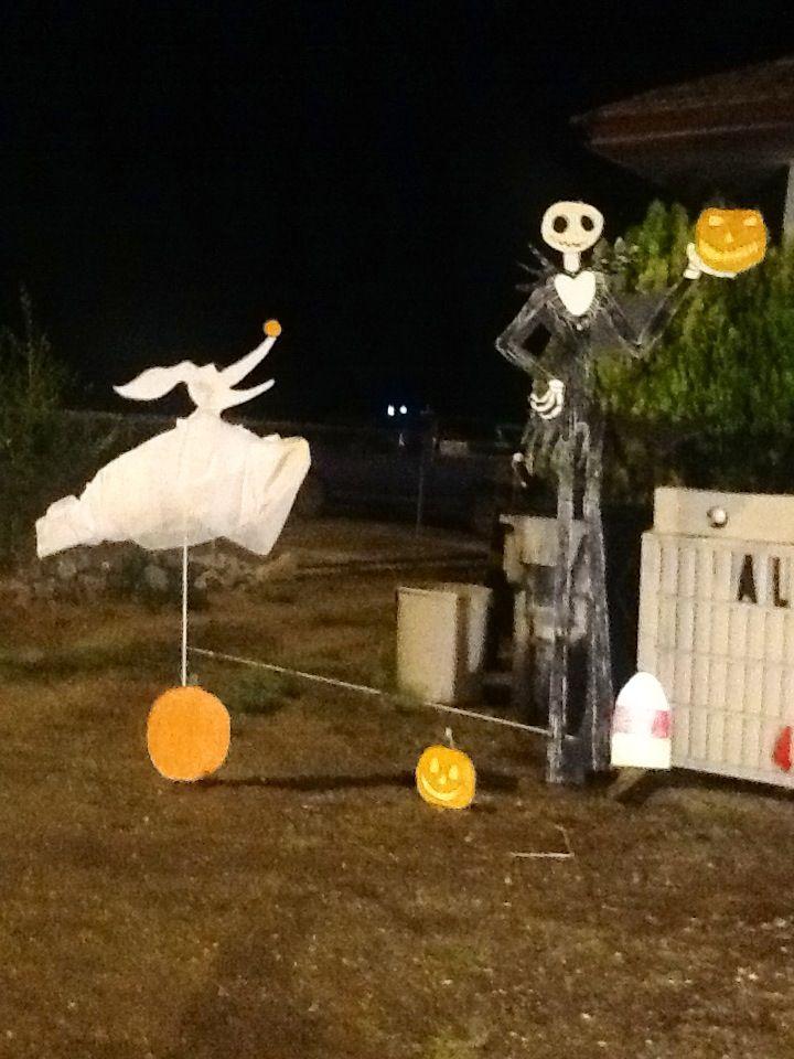 jack skellington and zero nightmare before christmas halloween yard decor