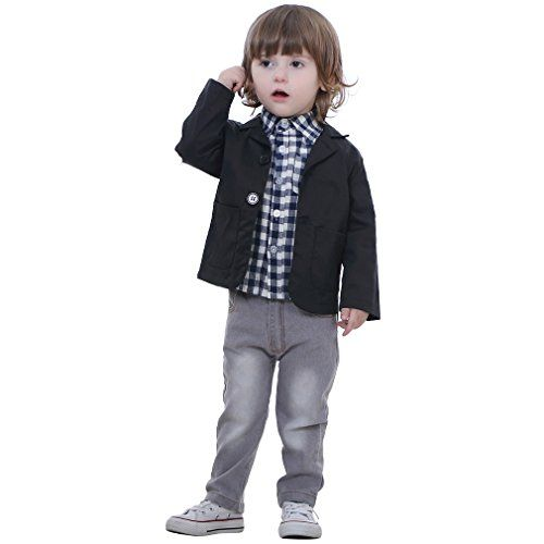 IDGIRL infant and toddler tuxedos Gentleman formal wear Black Wedding suit Jacket+Tshirt+Denim Trousers BD068-3T-navy. BRAND: IDGIRL. MATERIAL: Cotton. SIZE: 2-8 years; spring & autumn. INSTRUCTIONS: Hand washing & machine washing. WARRANTY: Get you money back within 30days if you don't satisfied with this item.