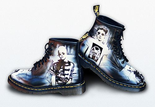 These boots were part of an exclusive series created for Dr Martens to promote and market their 1995 season of new products.  Only three pairs were produced. One for the UK, one for Europe and one for USA.