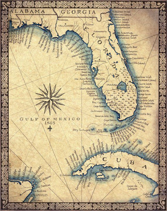 Map Of Florida And Cuba.Florida Map Art Print C 1865 11 X 14 Hand Drawn Old Florida Map