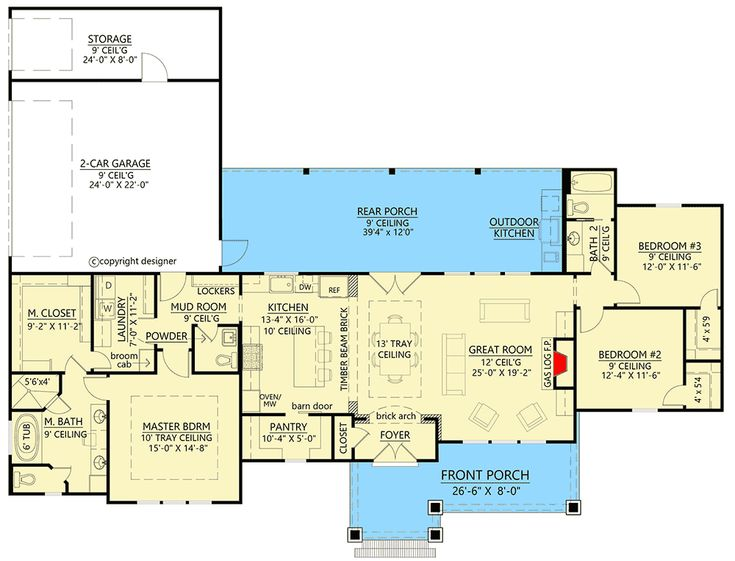 Plan 56456SM: Split Bedroom Modern Farmhouse Plan with with Large Walk-in Pantry