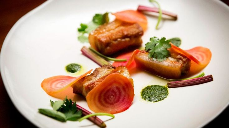Sticky Vanilla Pork with Beetroot and Coriander Lime Salsa