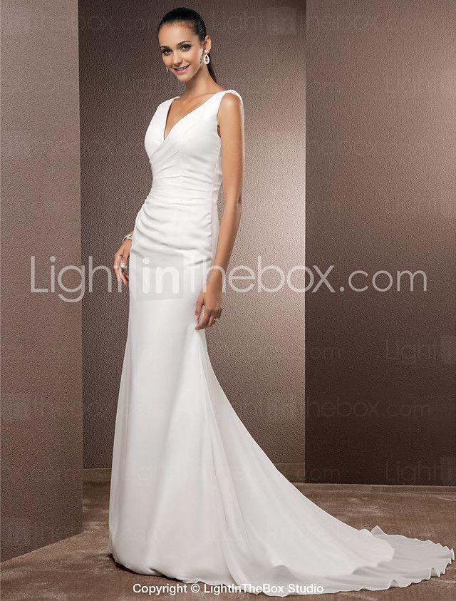 LAN TING BRIDE Trompeta / Sirena Vestido de novia - Clásico y Atemporal Espalda Abierta Simplemente Sublime Corte Cuello en V Raso con 2017 - $119.99