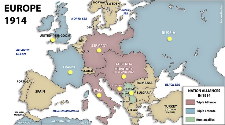 This is a picture of a political map of europe in 1914. It depicts the lines defining the states. It also shows what states were in the Triple Entente(blue), Triple Alliance(purple), and Russian allies(green).