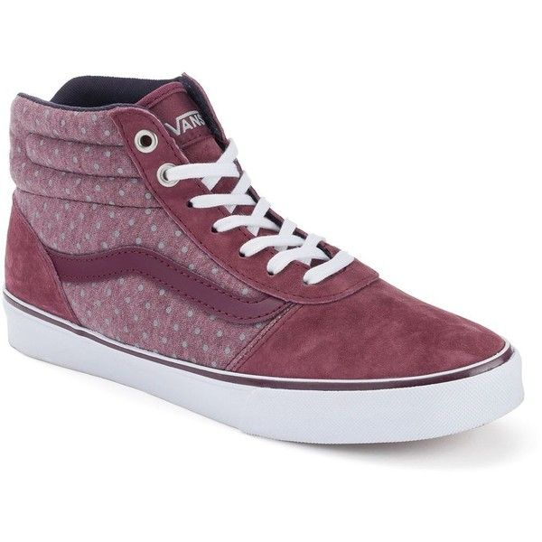 Vans Milton Women's Polka-Dot High-Top Skate Shoes, Size: 5.5, Red... ($40) ❤ liked on Polyvore featuring shoes, sneakers, red, lace sneakers, red polka dot shoes, red high top sneakers, lace up shoes and vans high tops