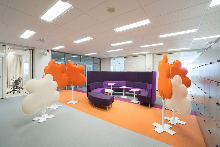 Kaari-sofa, Kivikko-table, Woodland-divider, Isku School