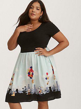 Plus Size Disney Up Multi-Color Knit to Woven Skater Dress, MULTI ...