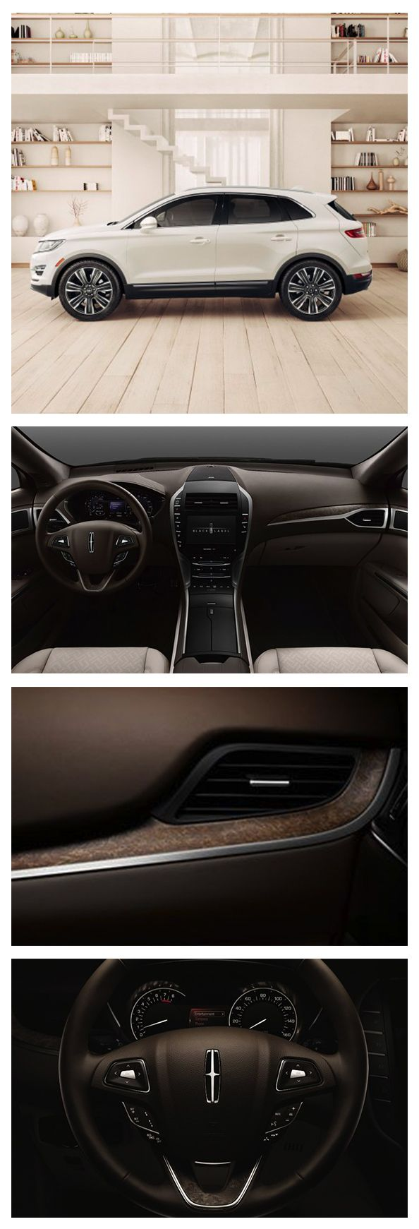 A two-toned palette of khaki and cream was the key to creating the calming environment of the Oasis Lincoln MKC, while a bright Confidential White exterior lets the vehicle's sculpted lines stand out on the road.